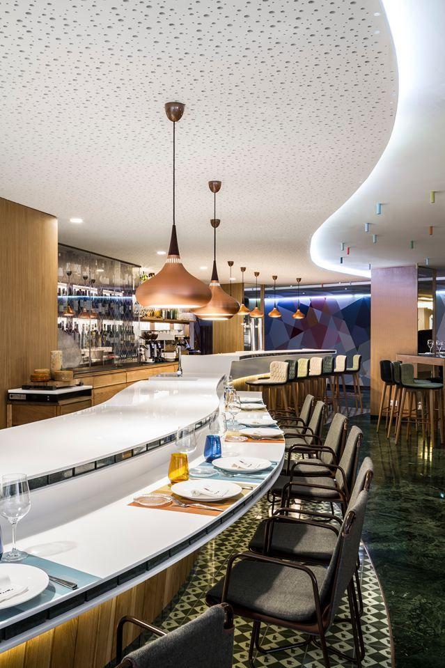 Orient P2 pendant at Poncelet Cheese Bar in Barcelona. Interior design by studio estudiHac.