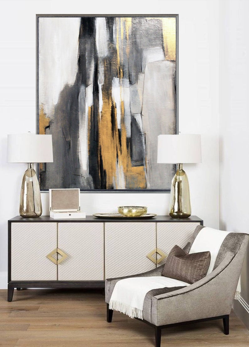 Abstract Acrylic Painting Modern Wall Decoration Large Canvas Luxury Home Decor Art In 2021 Modern Wall Decor Abstract Painting Acrylic Black Canvas Paintings