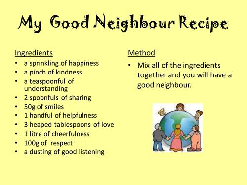 My Good Neighbour Recipe Pptx Good Neighbor I Am Awesome Understanding