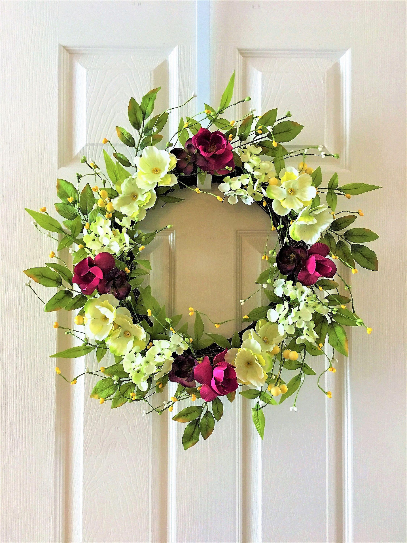 Spring Wreath For Front Door Flower Berry Summer