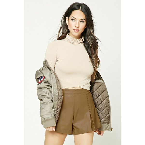Forever21 Pleated Faux Leather Shorts ($30) ❤ liked on Polyvore featuring shorts, camel, vegan leather shorts, pleated shorts, high waisted faux leather shorts, high waisted shorts and faux leather shorts