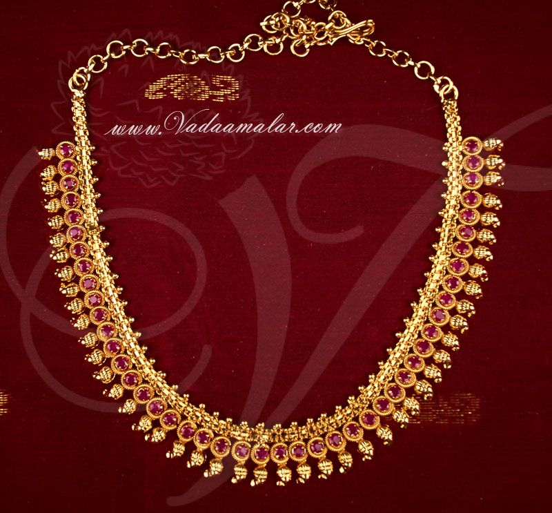 adb0e8868cf4d Gold Plated Ruby Stone Short Necklace Traditional Kerala Jewellery ...