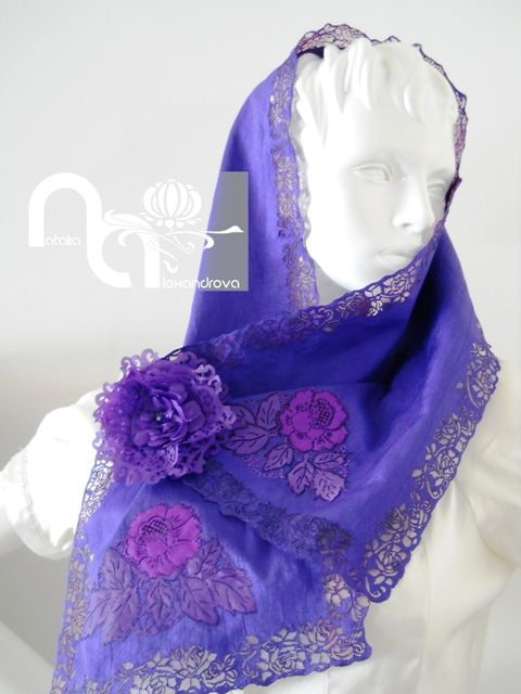 Designer scarf made from manually perforated fabric with artificial flower. Designed and handmade by Natalia Alexandrova. www.fb.com/nataliaalexandrova.rsa