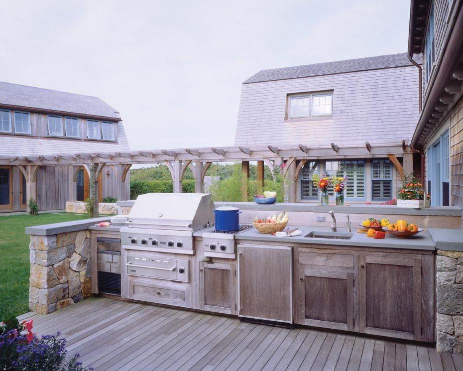 Cuffs Cove Compound Hutker Architects Martha S Vineyard Cape Cod And Nantucket Outdoor Kitchen Rustic Outdoor Kitchens Country Patio Outdoor Kitchen