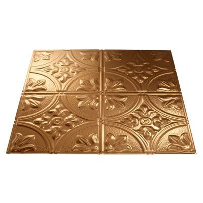 Fasade Traditional 2 2 ft. x 2 ft. Drop-In Ceiling Tile in Polished Copper