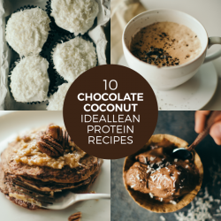 this is a picture of four different recipes using Chocolate Coconut IdealLean Protein