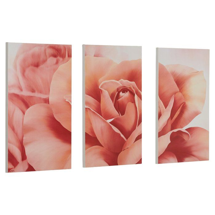Robelmont Pretty Fresh Rose Flower Triptych 3 Piece Photographic Print On Wood Set Floral Art Canvas Triptych Pink Wall Art