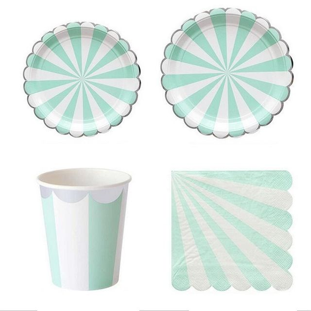 8pcs/Pack Light Green Stripped Disposable Tableware Set Paper Plates Cup Napkins Party Wedding Carnival  sc 1 st  Pinterest & 8pcs/Pack Light Green Stripped Disposable Tableware Set Paper Plates ...