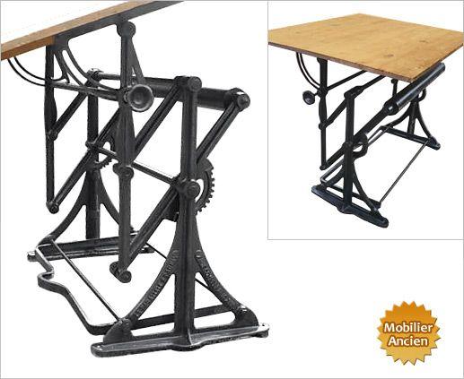 Ancienne Table à Dessin D Architecte Design Industriel Décoration