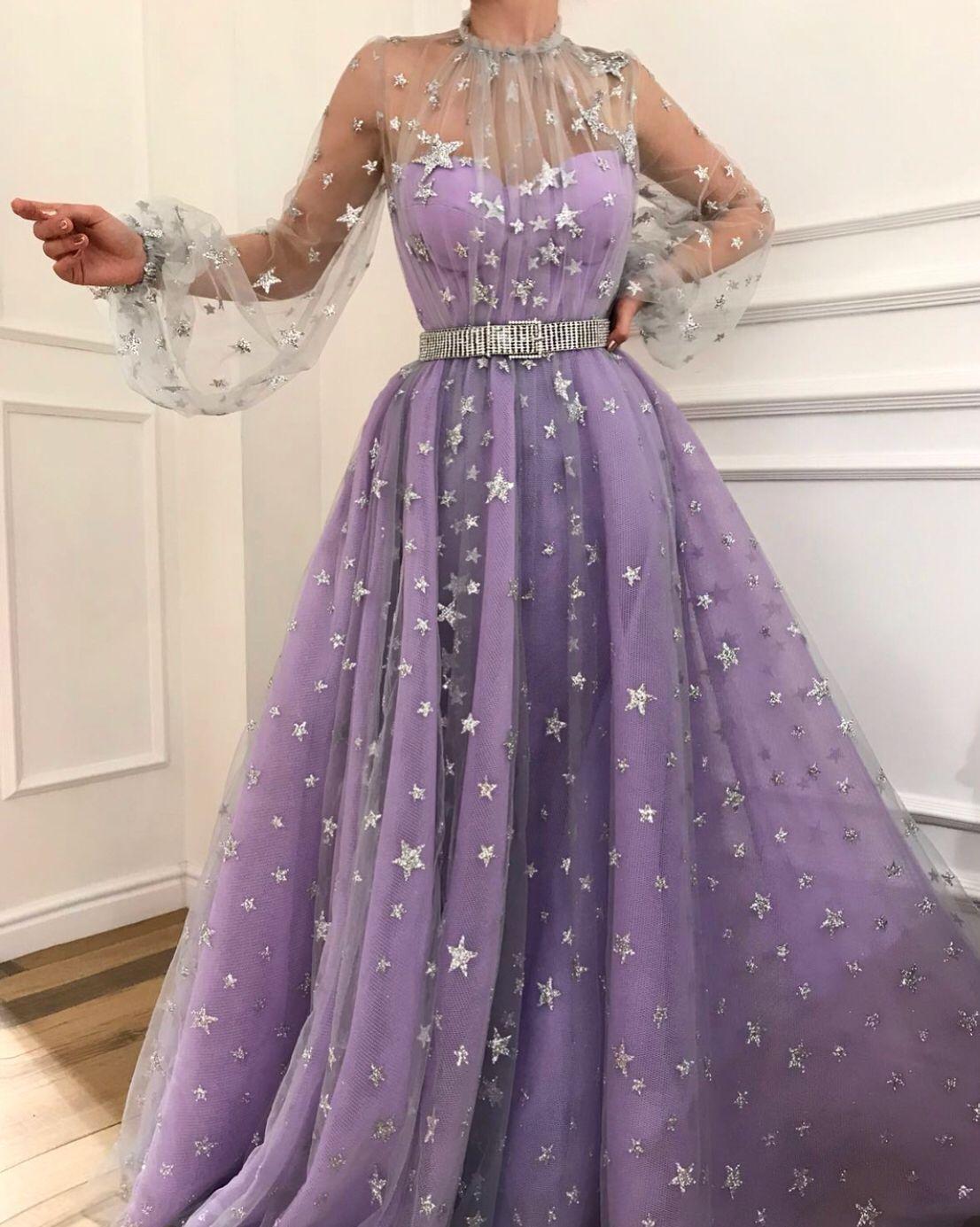 Purple Tulle Prom Dress Floor Length Prom Dress Prom Dresses Long With Sleeves Purple Prom Dress Evening Dresses Long [ 1385 x 1106 Pixel ]