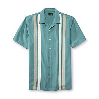 David taylor collection men 39 s retro bowling shirt stripe for David taylor shirts kmart