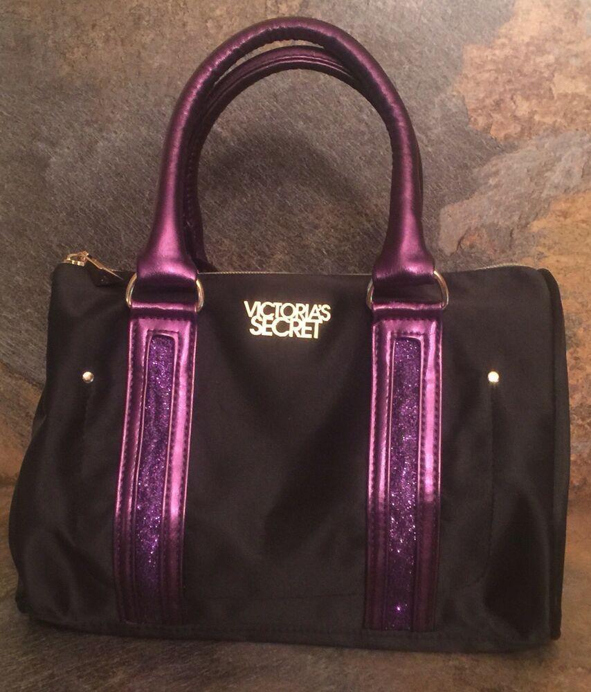 Victoria Secret Purse Makeup Bag Tote Satchel Black Purple