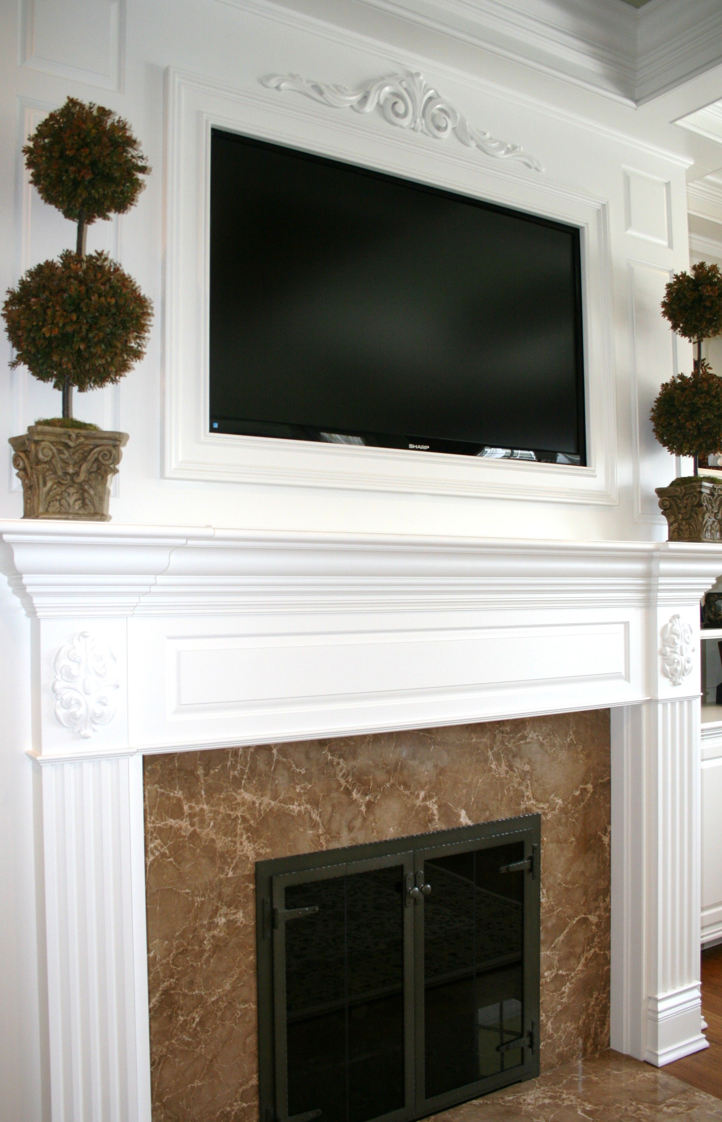TV above Fireplace Mantel built by Thomas Homes, Inc. | Fireplace ...