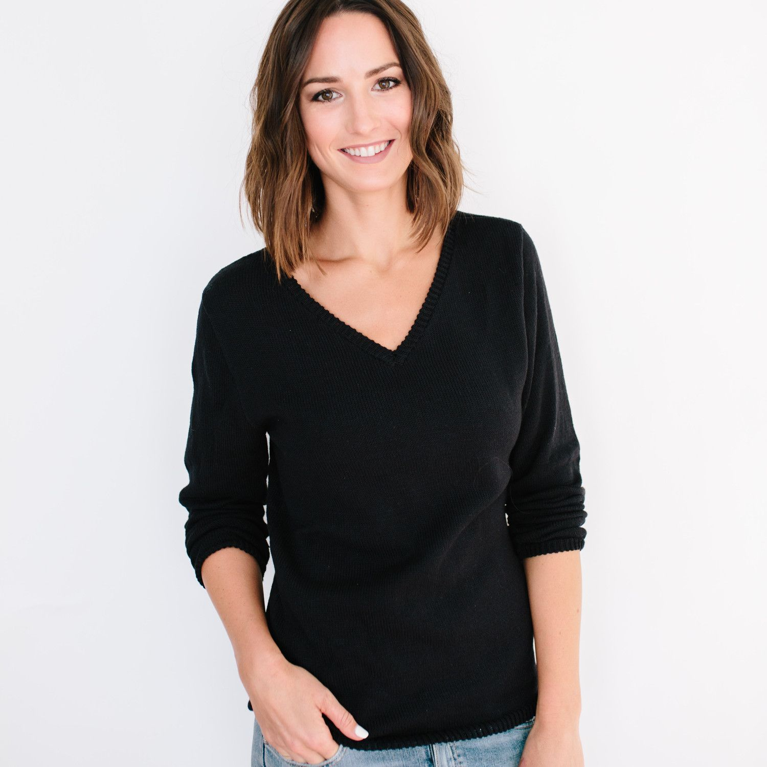 The Relaxed Vee Black Fashion, Women, Ethical clothing