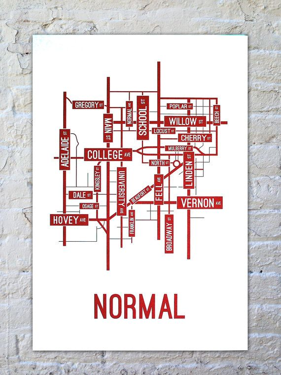 Normal Illinois Street Map Screen Print College Town Maps In 2019