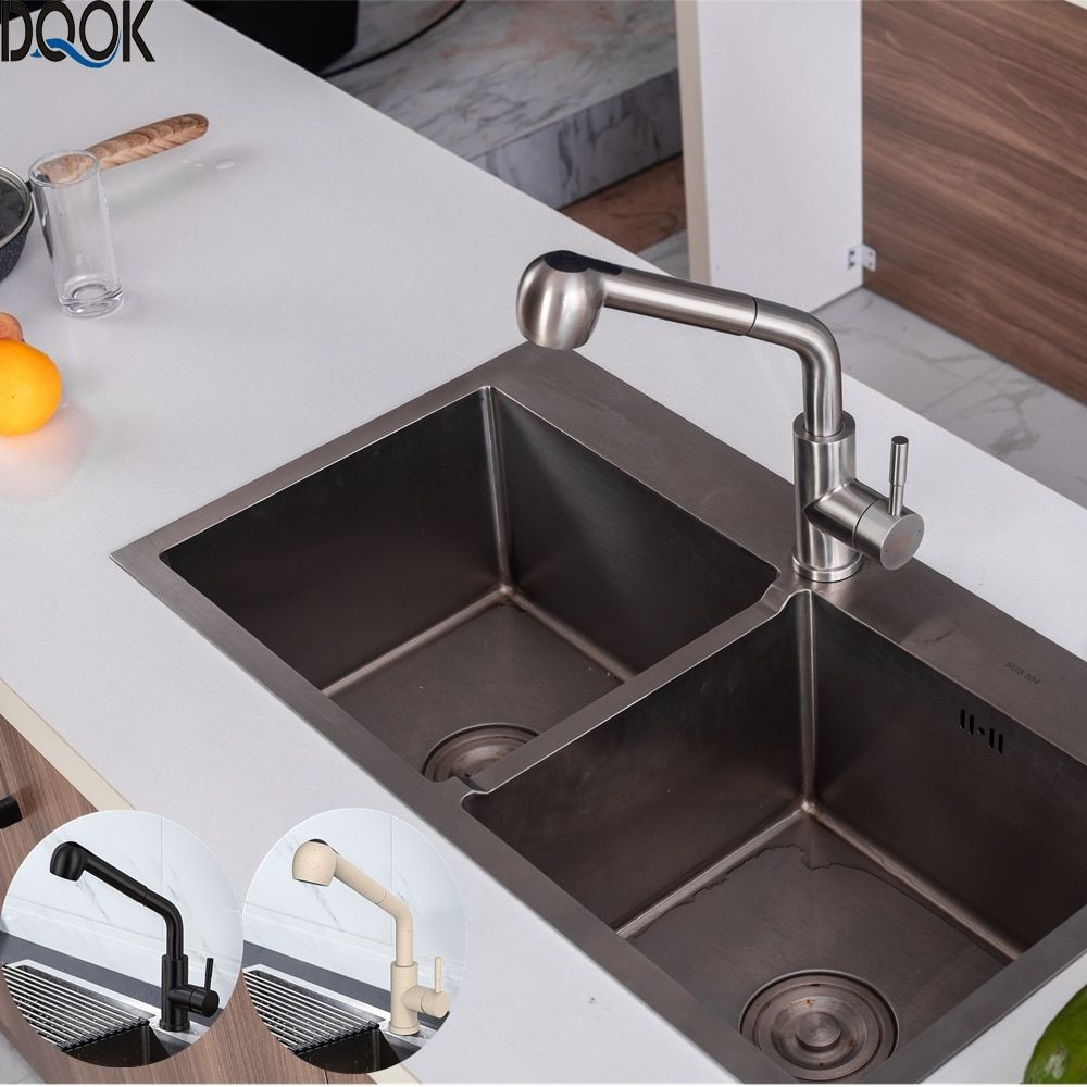 Sale Dqok Brushed Nickel Kitchen Faucets Single Hole 360 Degree Swivel Pull Out Black Kitchen Sink Faucet Kitchen Sink Faucets Black Kitchen Sink Sink Faucets