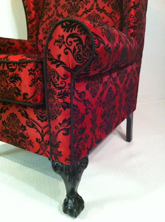 red and black damask wing chair