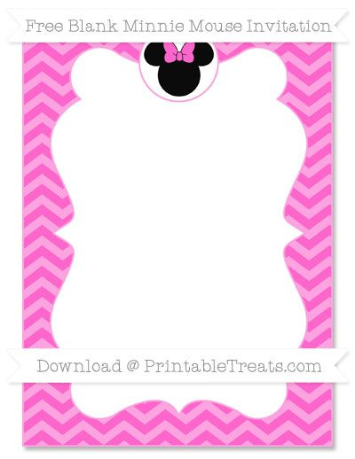 Free Rose Pink Chevron Blank Minnie Mouse Invitation Minnie - Minnie mouse birthday invitations blank