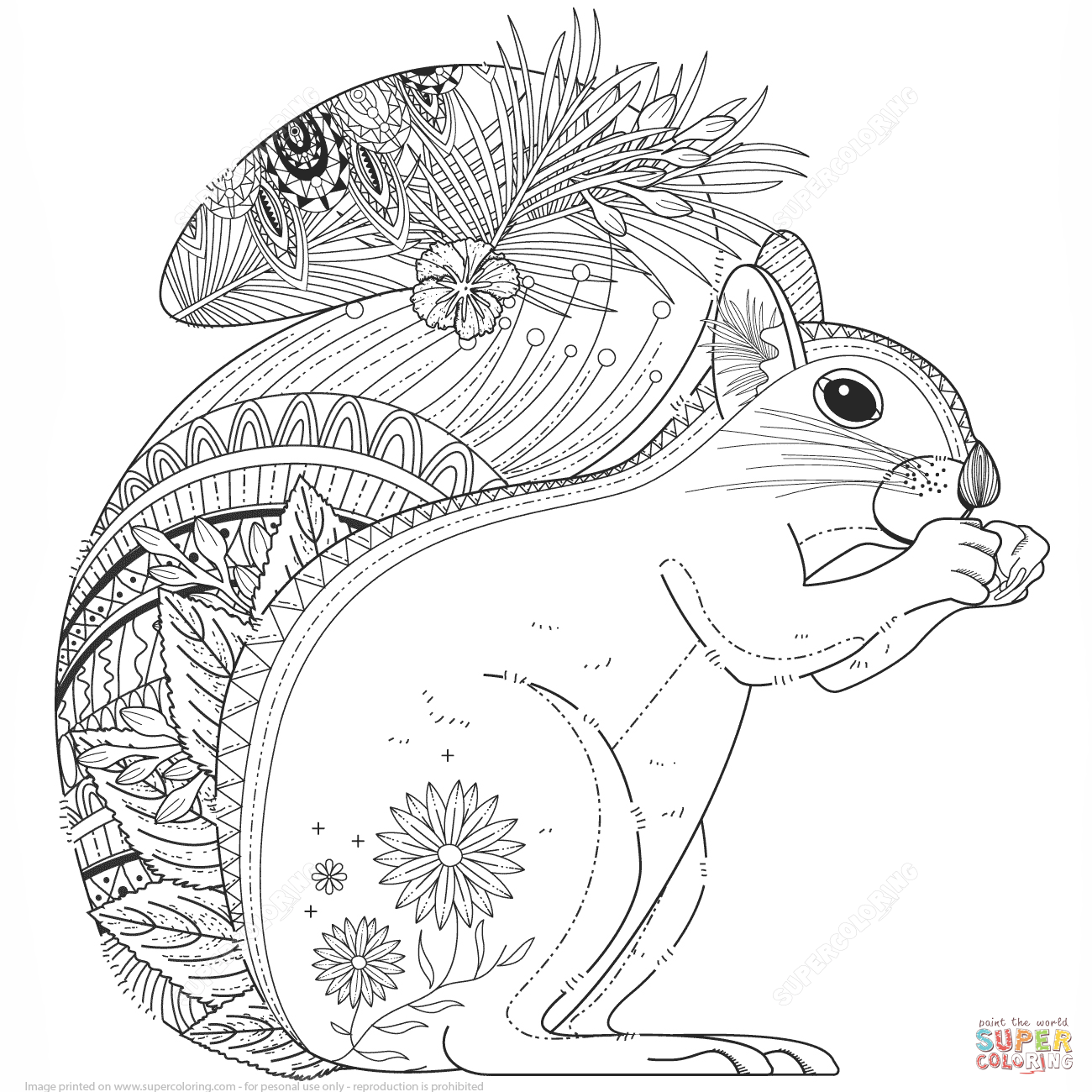 Squirrel Zentangle coloring page from Zentangle category. Select ...