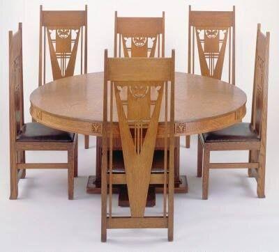 Prairie School Dining Table And Chairs By Georgo Grant Elmslie