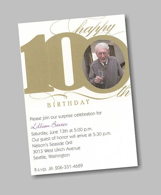 happy 100th birthday party invitation | celebrating 100 years, Birthday invitations