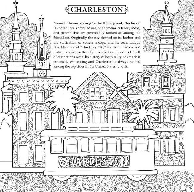 The Dowdle Doodles American Cities Coloring Book Contains 18 Unique Art Pieces By Eric