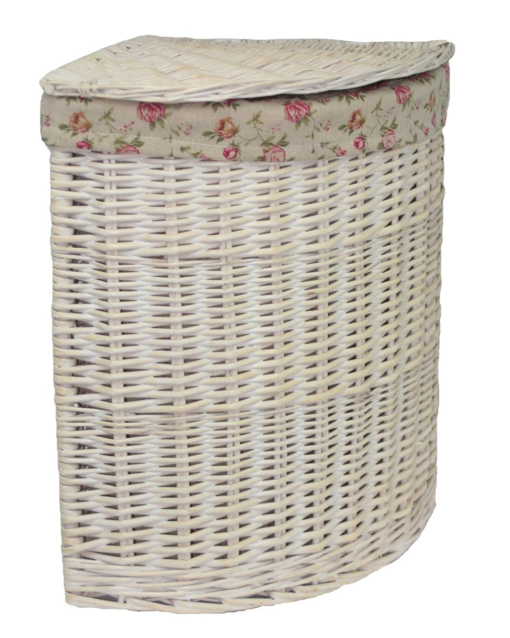 Corner White Wash Laundry Basket With A Garden Rose Lining