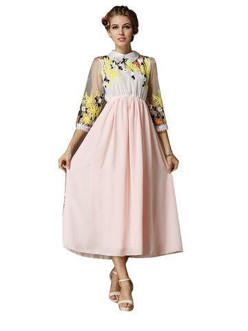 Flower Elastic Waist Polo Collar Long Chiffon Dress