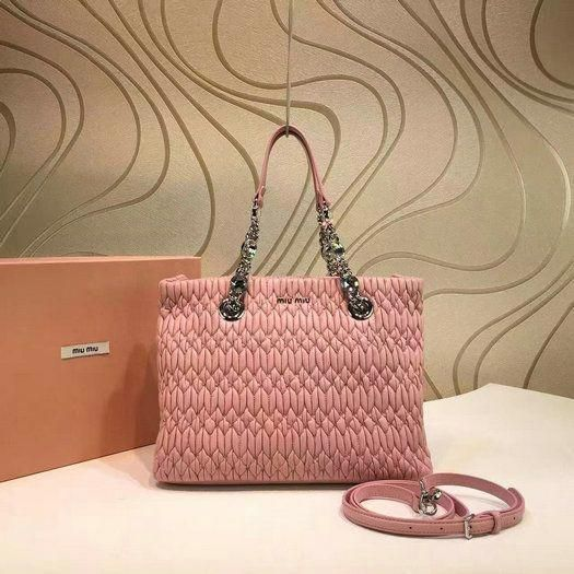 d368dbd1cac5 2016 A W Miu Miu Cloquet Nappa Leather Tote Bag in Pink  MiuMiu ...