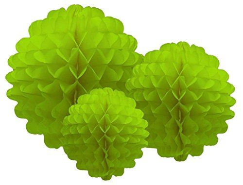 Party Partners Design Hanging Honeycomb Tissue Lime Green Pompom