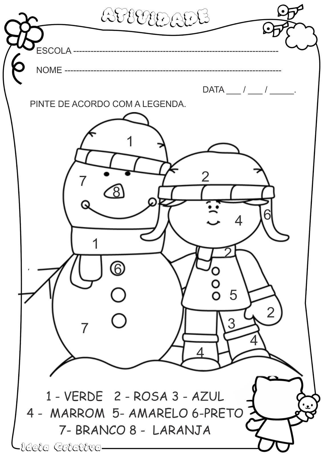 Atividade Pintura Legendada Inverno Menina Boneco de Neve | Inverno ...
