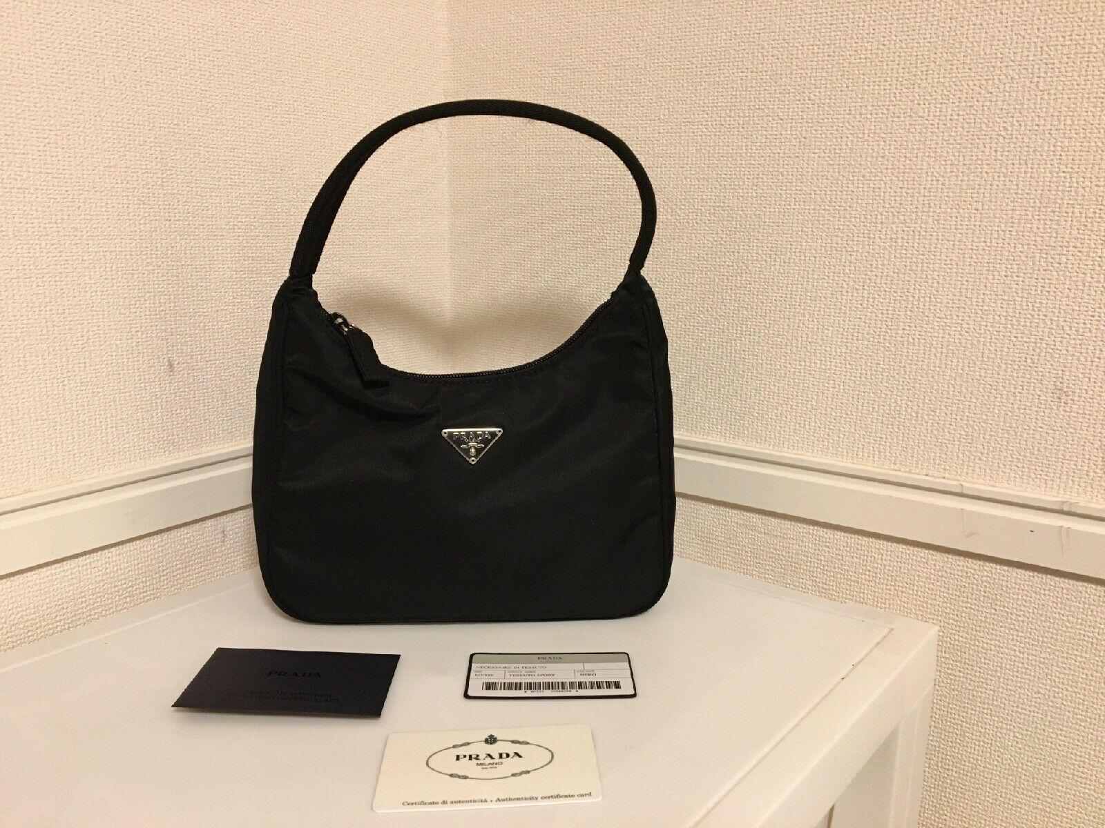 Vintage Prada Mini Tessuto Black Handbag Without Damage Mv519 In 2020 Black Handbags Leather Hobo Bag Handbag