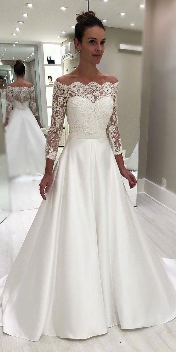 42 Off The Shoulder Wedding Dresses To See ❤  off the shoulder wedding dresses a line with three quote sleeves isabellanarch  #weddingforward #wedding #bride
