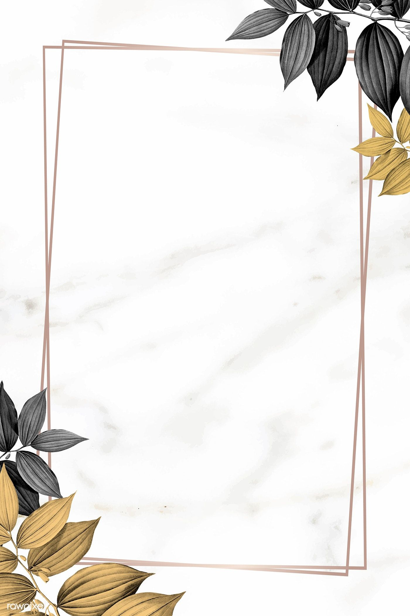 Download Premium Vector Of Gold Frame With Foliage Pattern On Marble Gold Wallpaper Background Flower Background Wallpaper Flowery Wallpaper