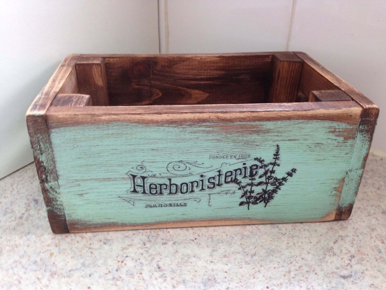 wooden Herbs And Spices Box Crate style Vintage Duck egg Blue French ...