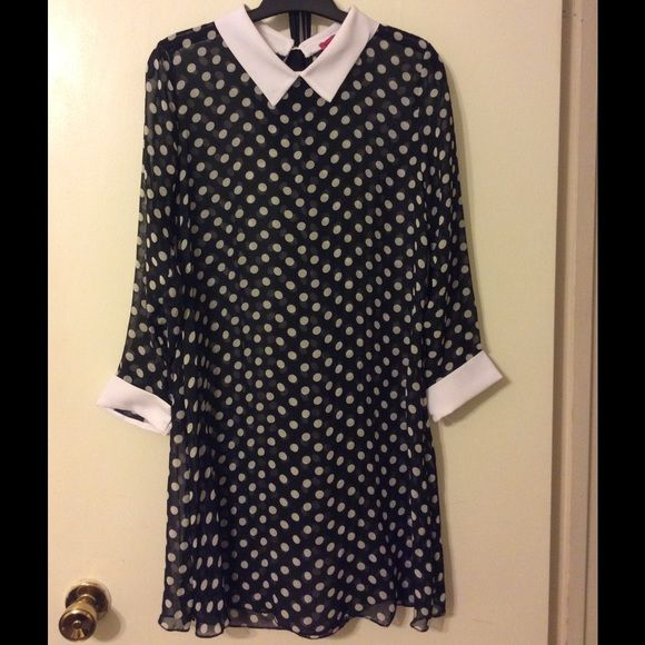 Collared polka dot dress 3/4 sleeve sheer polka dot dress. Keyhole button. Includes black slip. Boohoo Dresses
