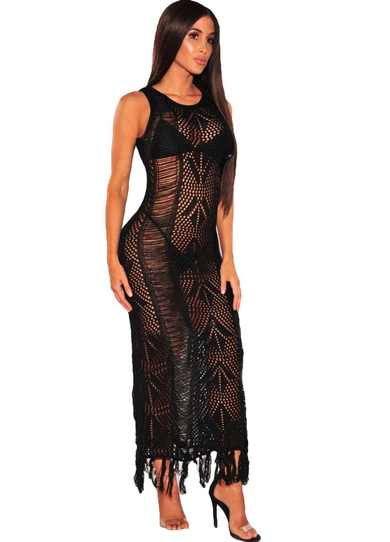2c3f47b3639 Chic Fringe Hem Knit Beach Maxi Dress Maxi Dress Dresses Sexy Lingeire