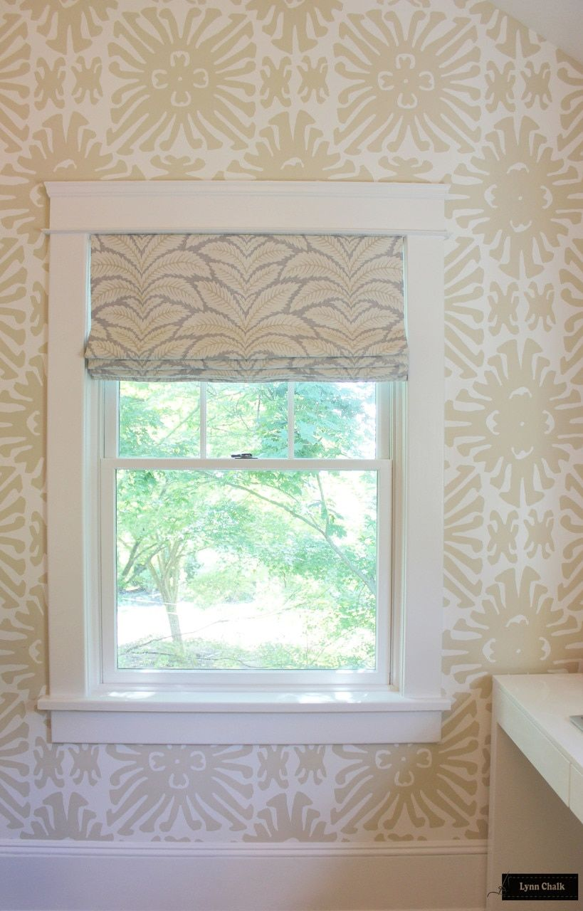 Custom Roman Shades by Lynn Chalk in Brunschwig & Fils Talavera Linen in Birch (comes in 4 colors). Quadrille Sigourney Wallpaper.