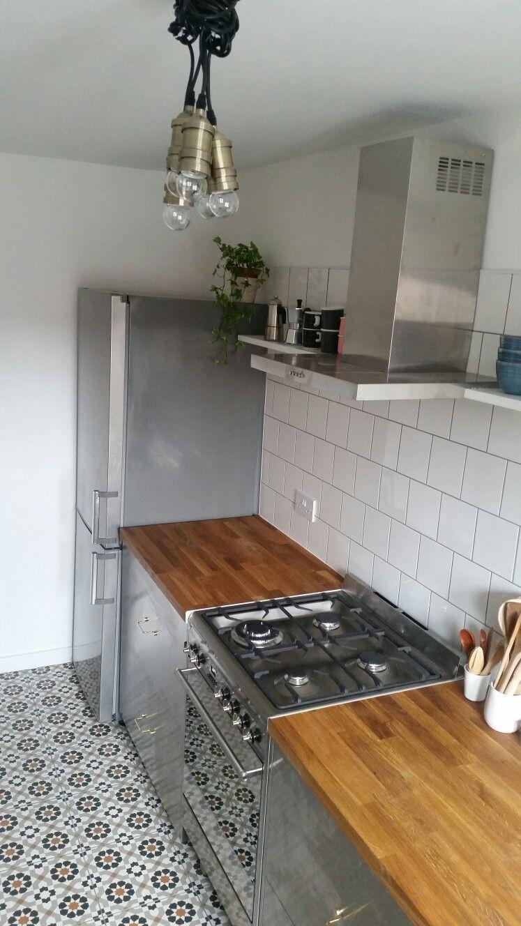 steel cabs, wood top Industrial kitchen. Ikea Grevsta, Superfront ...