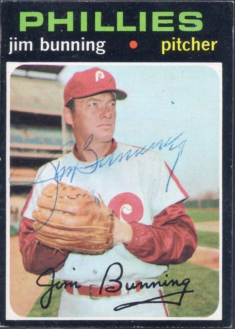 1971 topps jim bunning autograph baseball cards