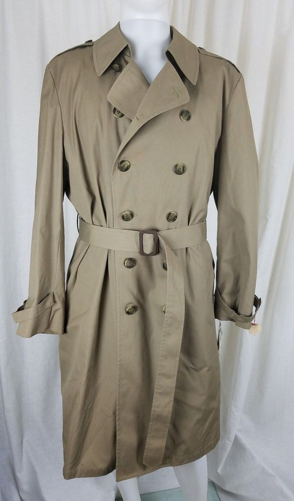 bc36290fe Details about London Fog Maincoats Sz 42R Khaki Double Breasted ...