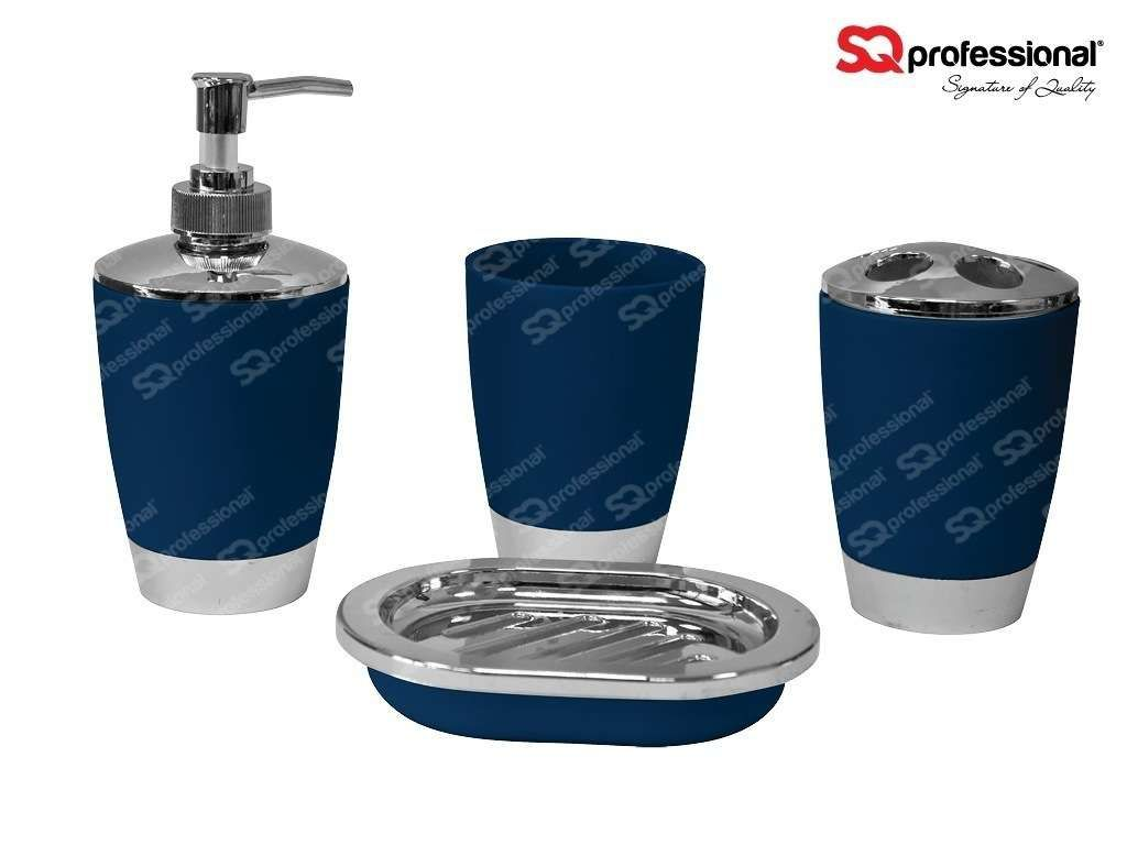 4 Piece Bathroom Set   DARK BLUE: Liquid Soap Dispenser, Soap Tray,