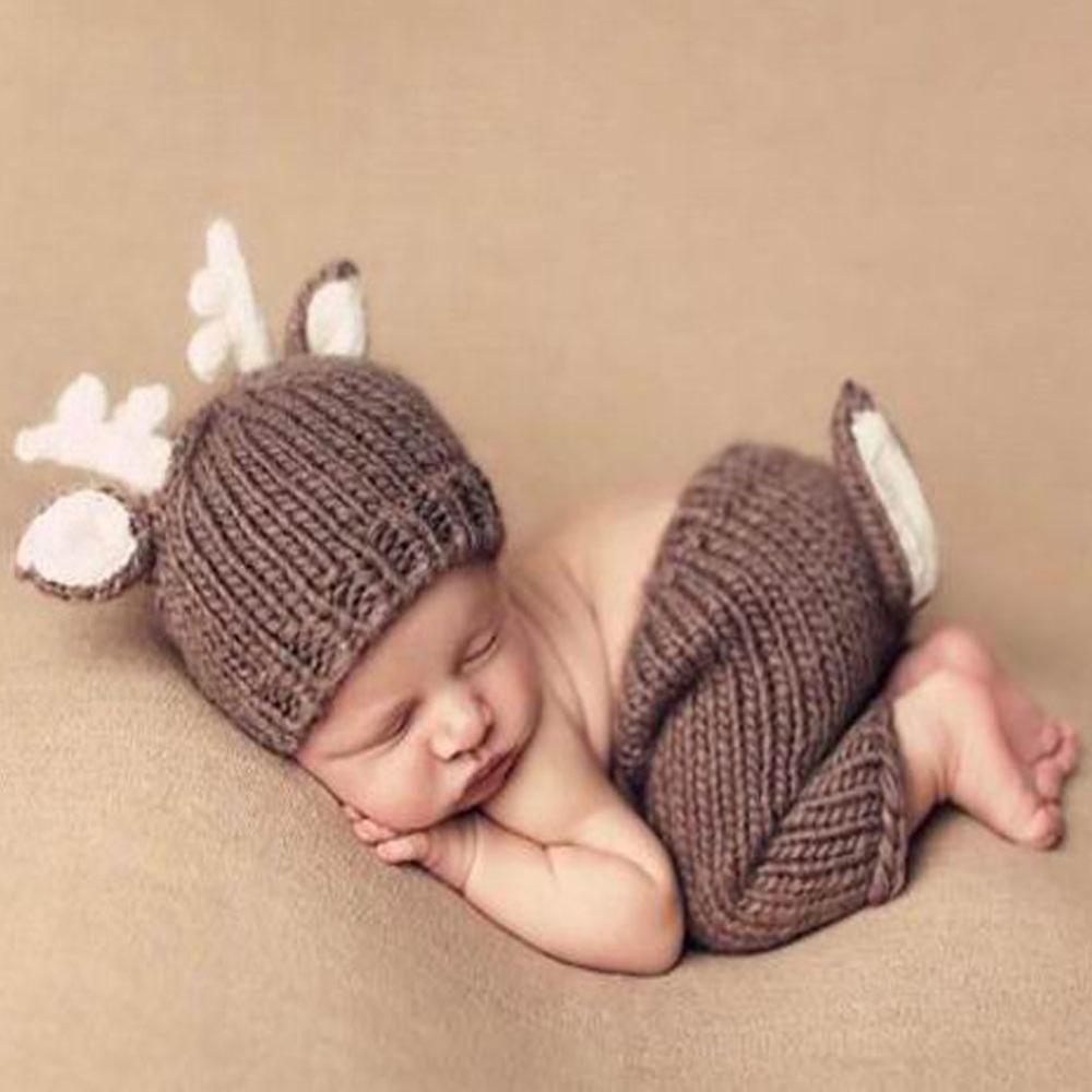 0e3520f71f0cd Nouveau né Mignon Animaux Crochet bébé costume photographie props tricot  chapeau infantile bébé accessoires photo nouveau…