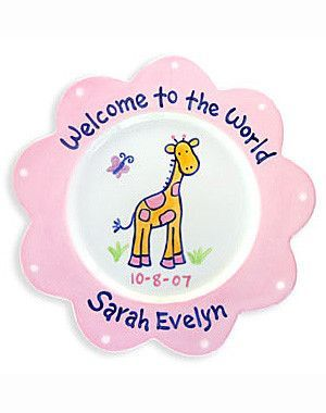 This adorable welcome to the world giraffe plate makes a great this adorable welcome to the world giraffe plate makes a great newborn baby gift for a special one this adorable personalized ceramic plate is 100 negle Images