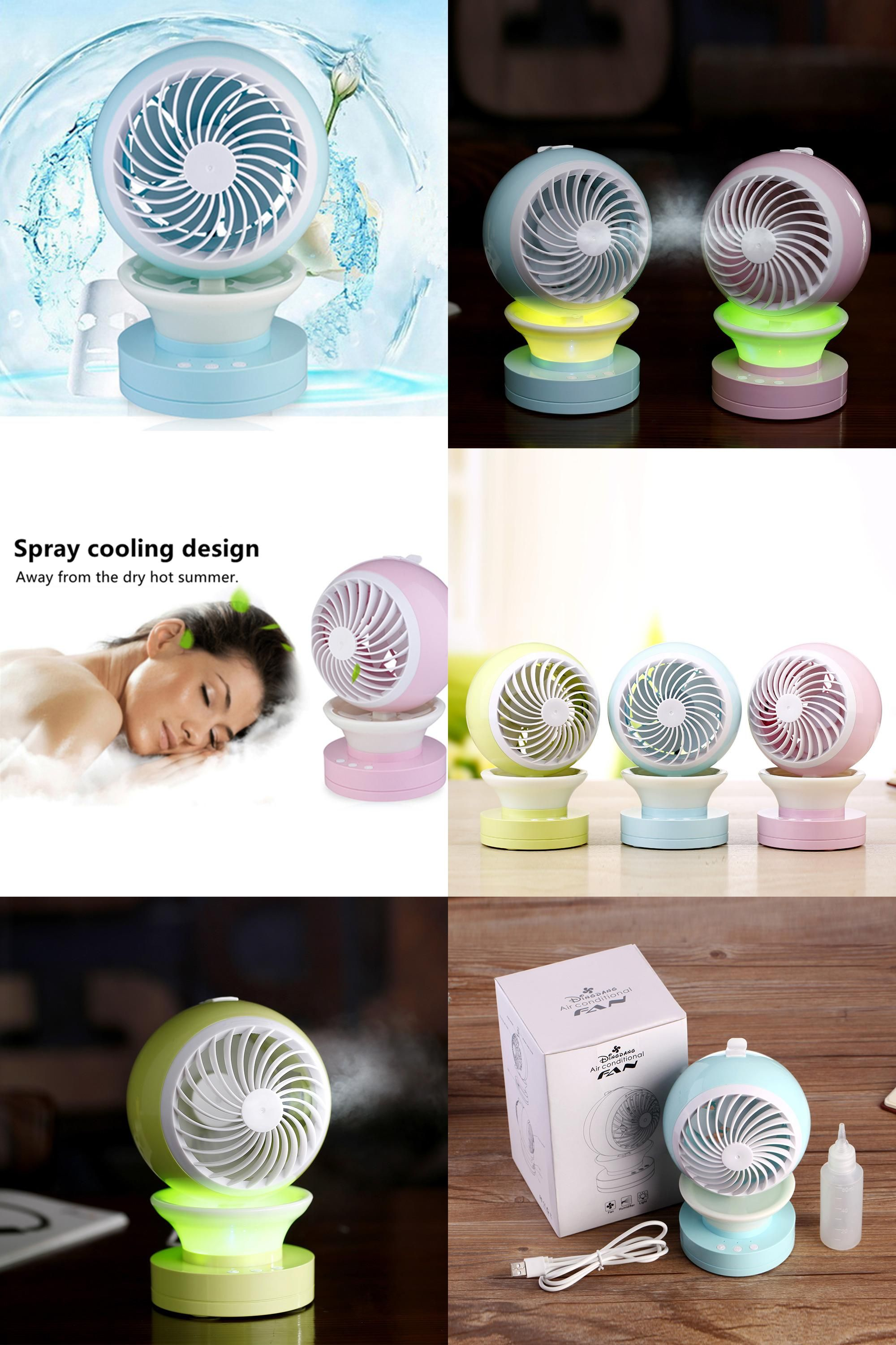 Visit To Buy New Summer Humidifier Mini Fan Usb Rechargeable Water Mist Fan With Night Light Office Home Rou Home Appliances Office Lighting Cheap Appliances