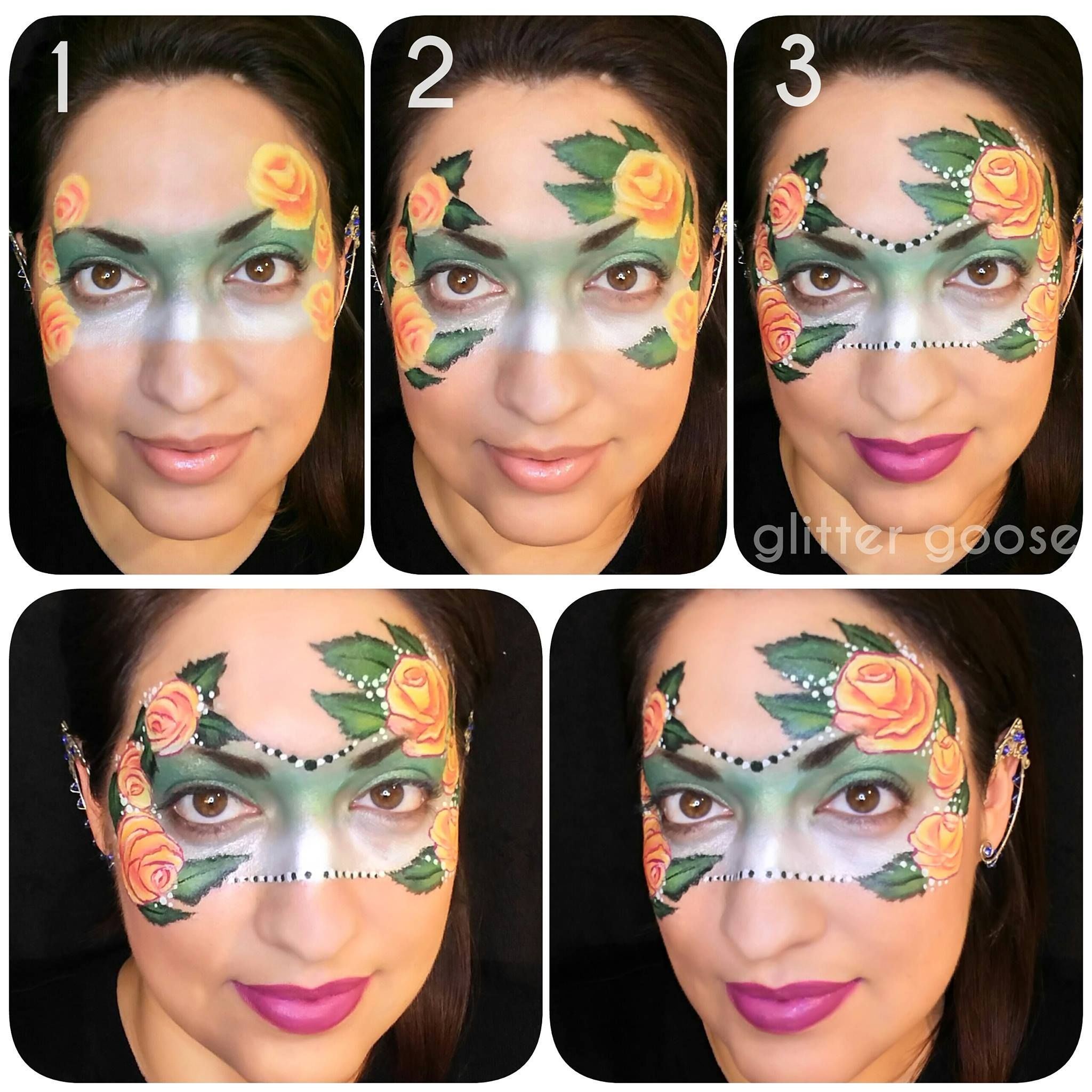 Uncategorized Step By Step Face Painting rose mask 3 step photo tutorial by glitter goose one stroke face painting face
