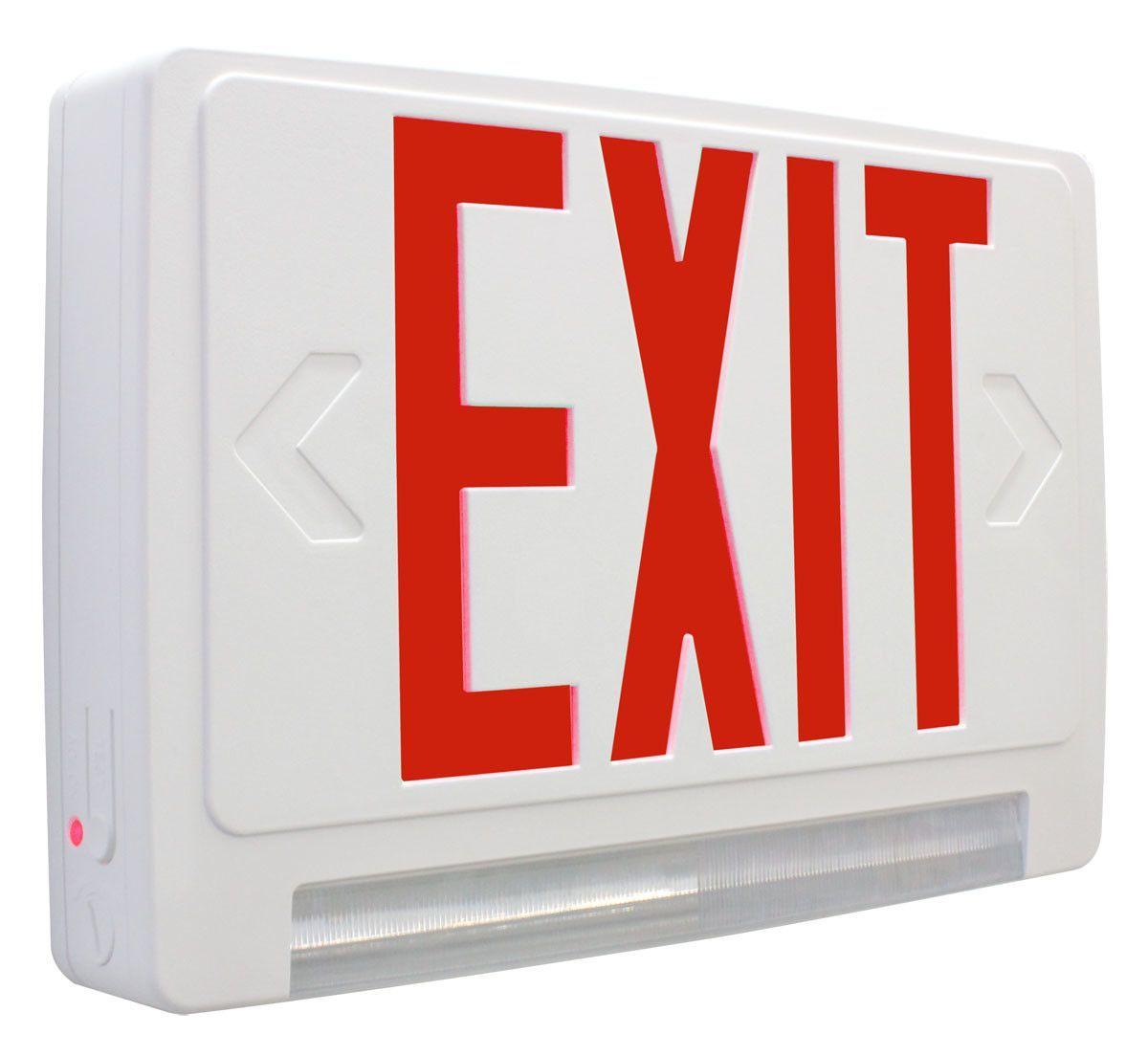 Exitronix exit led emergency combo light emergency lighting lighting emergency lighting en led for Exterior emergency exit lights