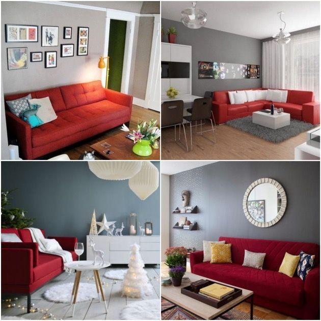 Déco Salon salon canapé rouge peinture mur gris | Décoration Maison ...