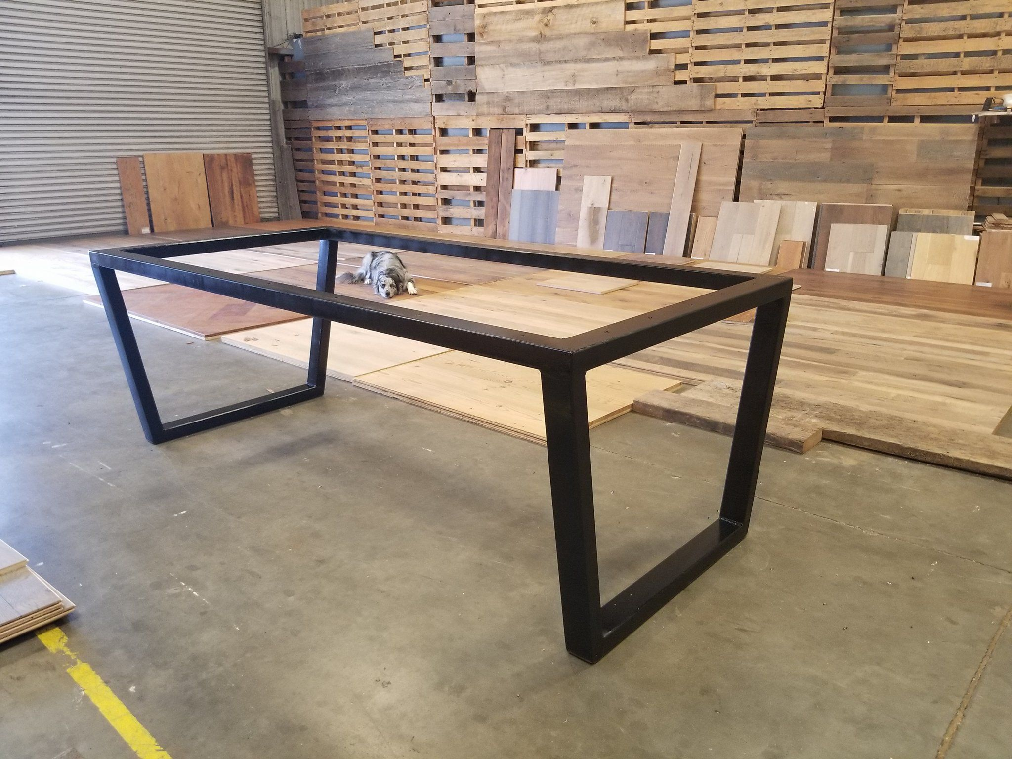 Custom Upside Down Trapezoid Leg Metal Table Base