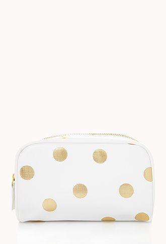 8fb066cb9ac2 Metallic Polka Dot Cosmetic Bag